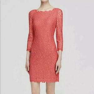 Adrianna Papell Floral Lace Coral Sheath Dress